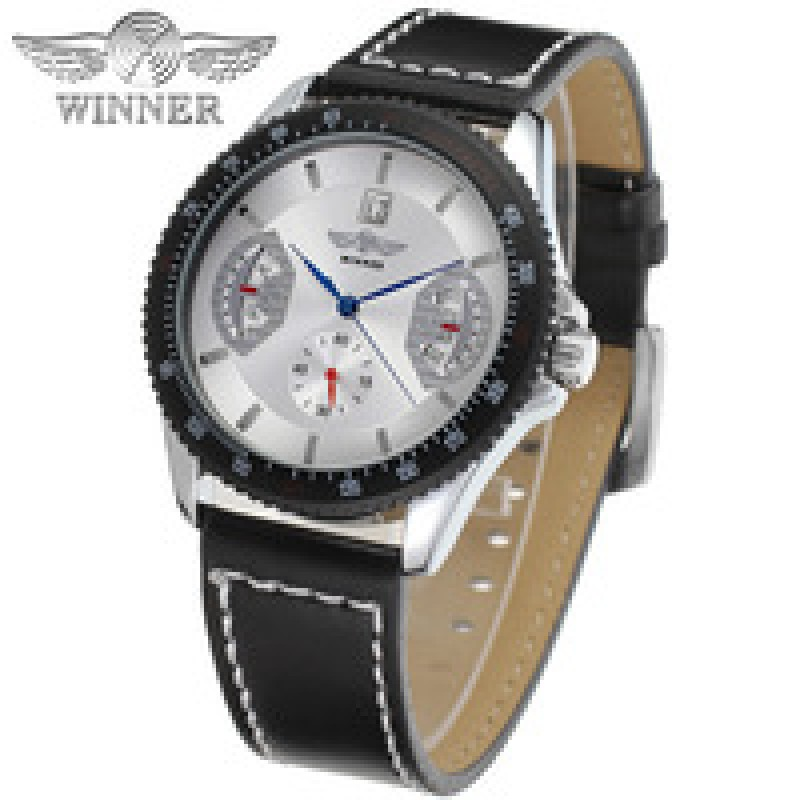 Winner WRG8045M3T4 Automatic men new wristwatch skeleton silver color watch for Men black leather strap