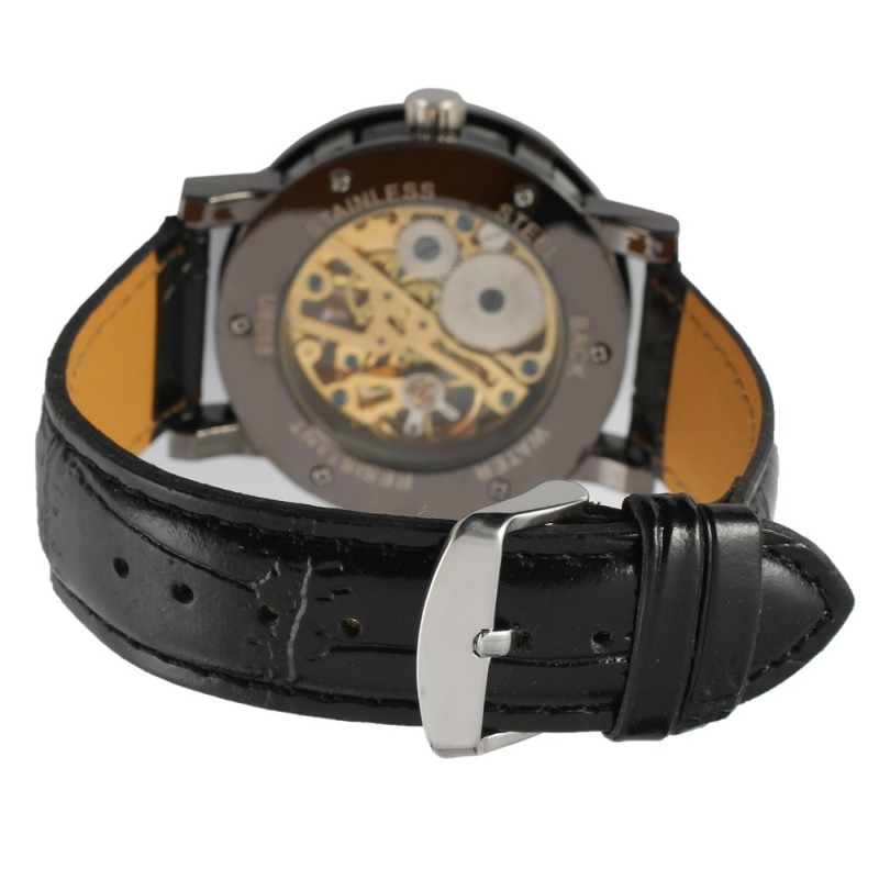 l sewor brown leather product mechanical watches skeleton mens movement watch transparent